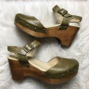 Five Worlds Olive Studded Wooden Clogs